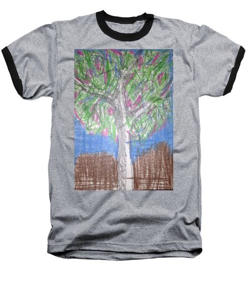 Baseball T-Shirt featuring the drawing Apple Tree by Erika Chamberlin