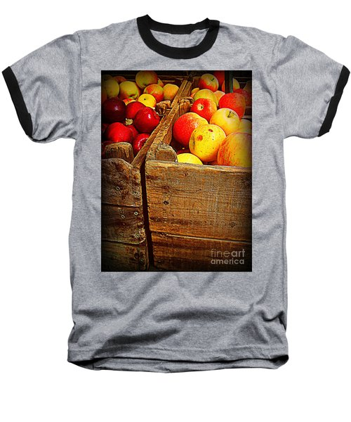 Apples In Old Bin Baseball T-Shirt by Miriam Danar