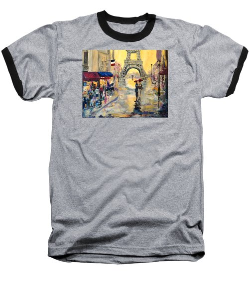 Baseball T-Shirt featuring the painting April In Paris by Alan Lakin