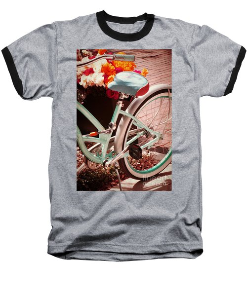 Baseball T-Shirt featuring the digital art Aqua Bicycle by Valerie Reeves