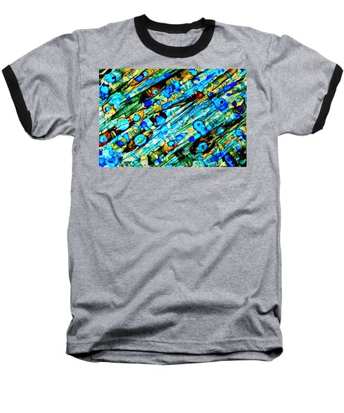 Aqua Brown Jade Gold Abstract Alcohol Inks Baseball T-Shirt