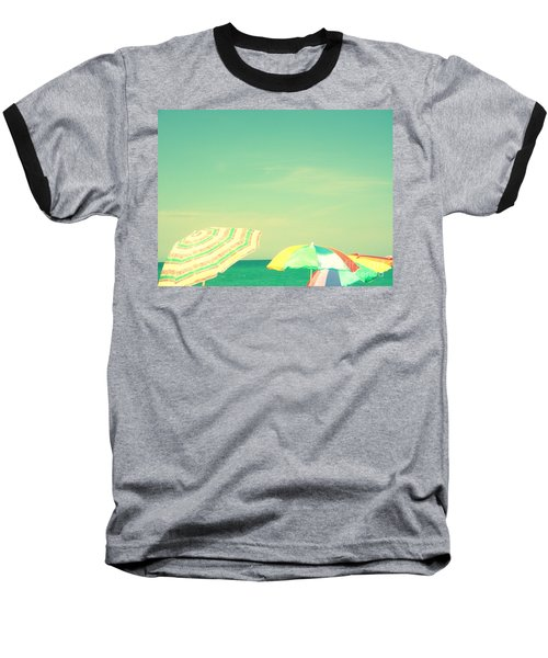 Baseball T-Shirt featuring the digital art Aqua Sky With Umbrellas by Valerie Reeves