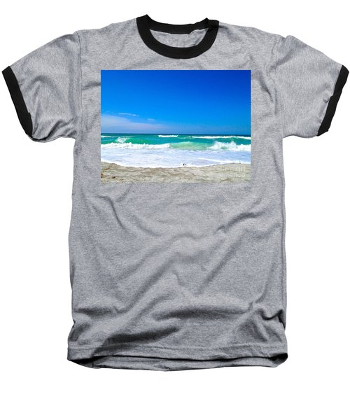 Aqua Surf Baseball T-Shirt by Margie Amberge