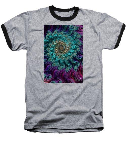 Aqua Swirl Baseball T-Shirt by Steve Purnell
