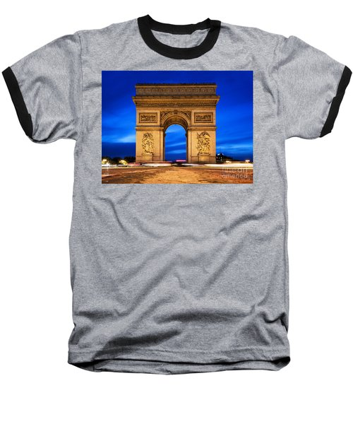 Arc De Triomphe At Night Paris France  Baseball T-Shirt