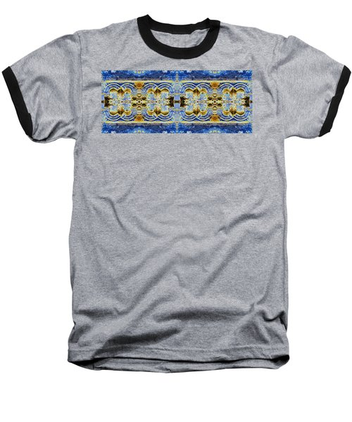 Baseball T-Shirt featuring the digital art Arches In Blue And Gold by Stephanie Grant