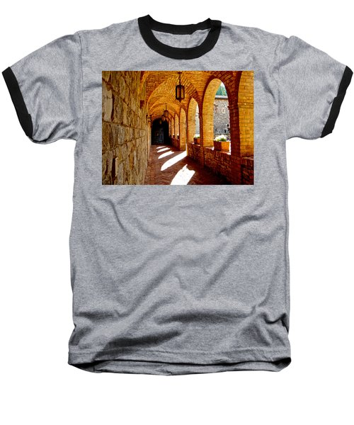 Archway By Courtyard In Castello Di Amorosa In Napa Valley-ca Baseball T-Shirt by Ruth Hager