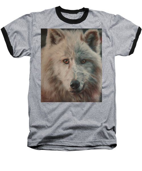 Baseball T-Shirt featuring the painting Arctic Wolf by Cherise Foster