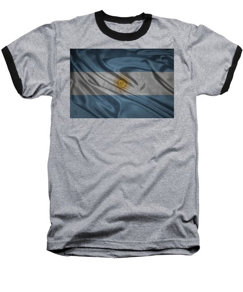 Argentinian Flag Waving On Canvas Baseball T-Shirt by Eti Reid