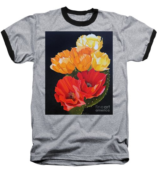 Baseball T-Shirt featuring the painting Arizona Blossoms - Prickly Pear by Debbie Hart
