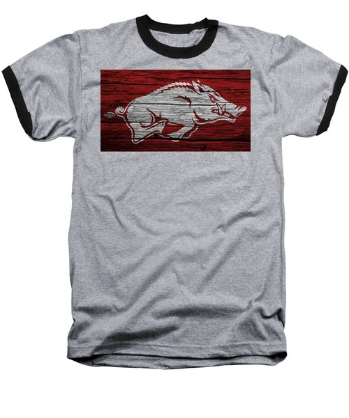 Arkansas Razorbacks On Wood Baseball T-Shirt by Dan Sproul