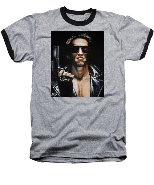 Arnold Schwarzenegger - Terminator Baseball T-Shirt by Tom Carlton