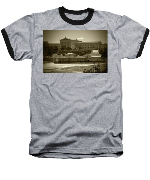 Art Museum And Fairmount Waterworks - Bw Baseball T-Shirt by Lou Ford