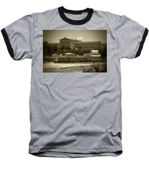 Art Museum And Fairmount Waterworks - Bw Baseball T-Shirt
