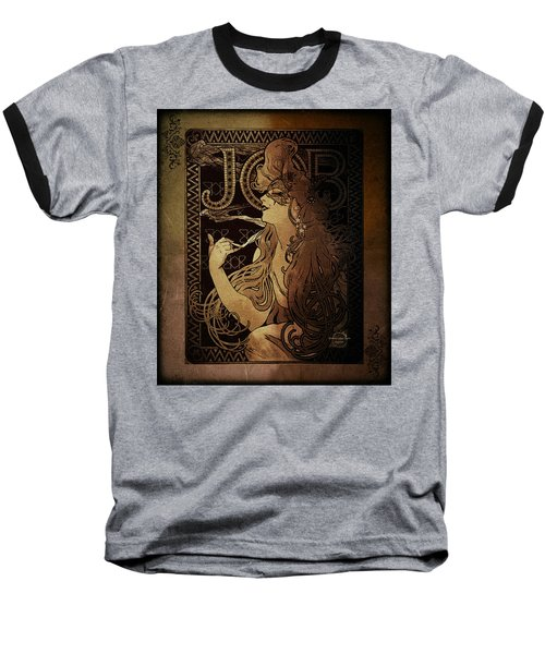 Art Nouveau Job - Masquerade Baseball T-Shirt by Absinthe Art By Michelle LeAnn Scott
