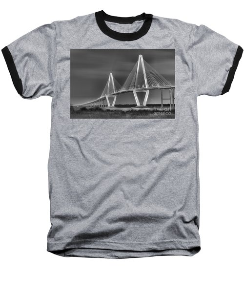 Arthur Ravenel Jr. Bridge In Black And White Baseball T-Shirt