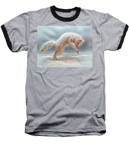 Artic White Wolf Baseball T-Shirt by Joan  Minchak