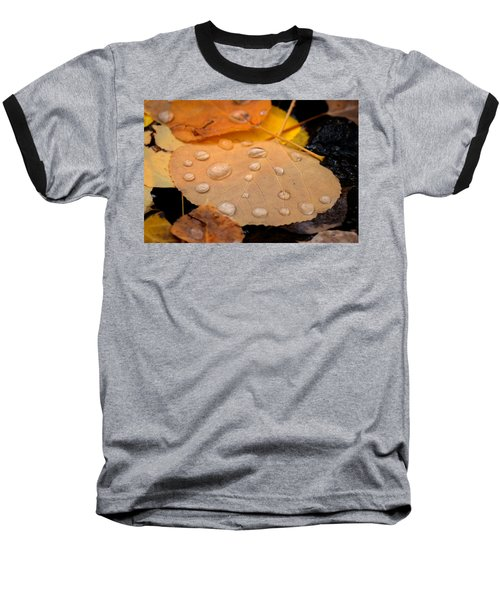 Aspen Leaf With Water Drops Baseball T-Shirt