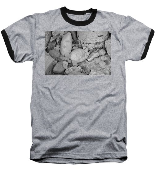 Aspen Leaves On The Rocks - Black And White Baseball T-Shirt