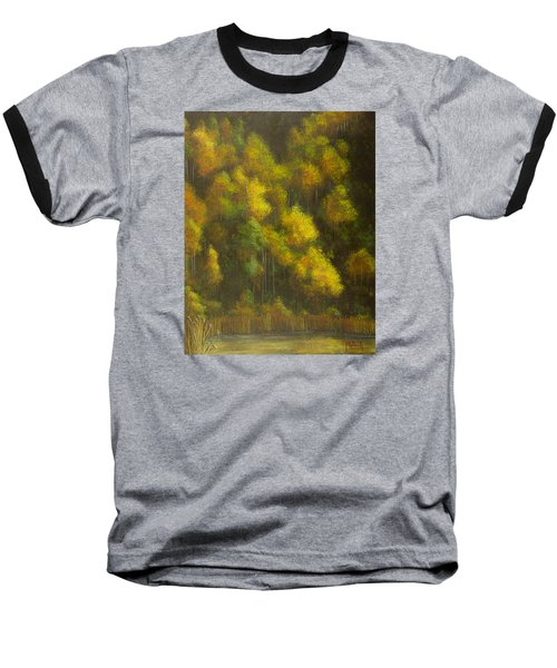 Aspens And Cattails Baseball T-Shirt by Jack Malloch