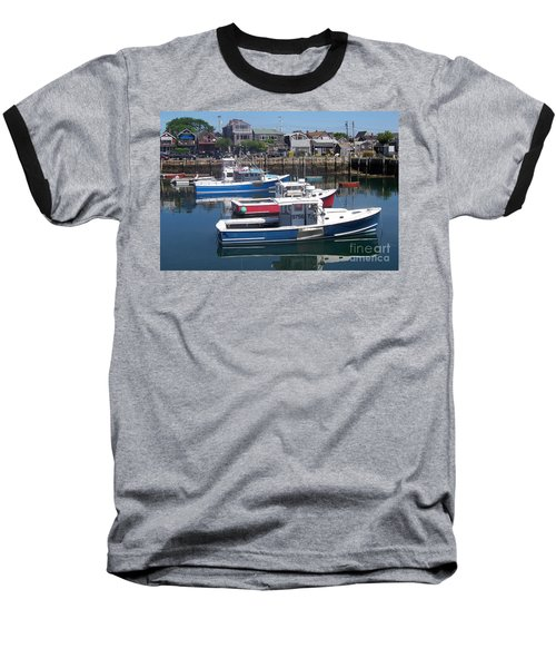 Colorful Boats Baseball T-Shirt by Eunice Miller