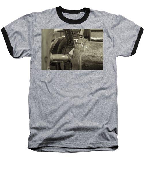 At The Helm Black And White Sepia Baseball T-Shirt