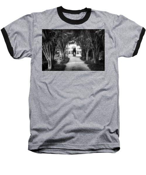 Atlanta Botanical Garden-black And White Baseball T-Shirt by Douglas Barnard