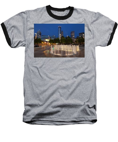 Atlanta By Night Baseball T-Shirt by Alexey Stiop