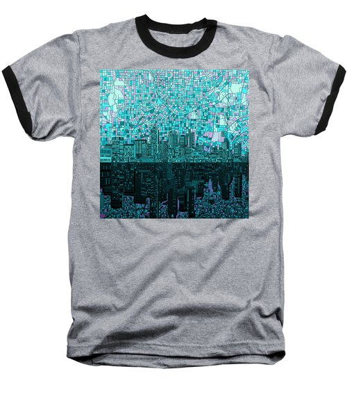 Atlanta Skyline Abstract 2 Baseball T-Shirt by Bekim Art