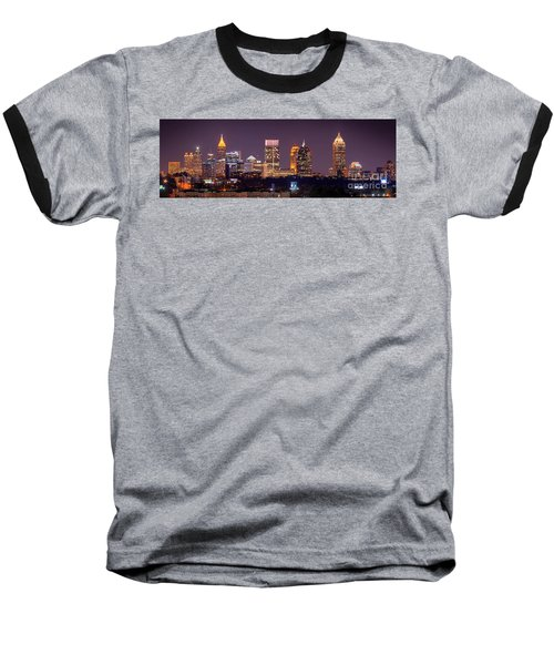 Atlanta Skyline At Night Downtown Midtown Color Panorama Baseball T-Shirt