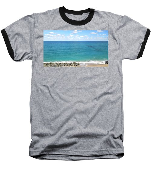 Atlantic Ocean In South Florida Baseball T-Shirt by Ron Davidson