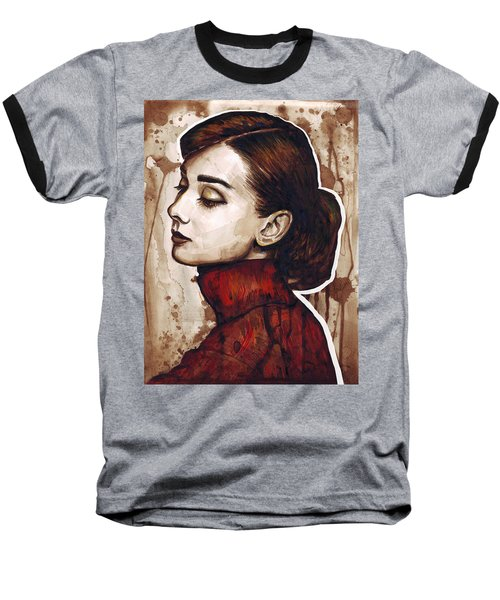 Audrey Hepburn Baseball T-Shirt by Olga Shvartsur