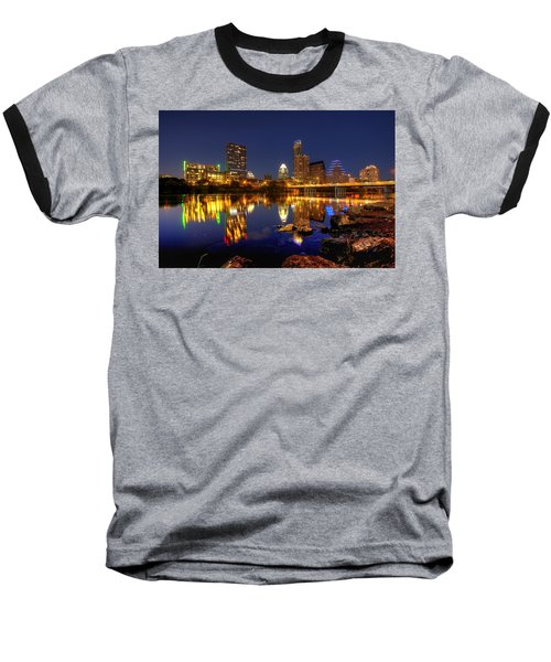 Austin On The Rocks Baseball T-Shirt by Dave Files