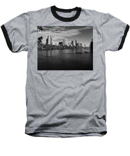 Austin Skyline Bw Baseball T-Shirt by Judy Vincent