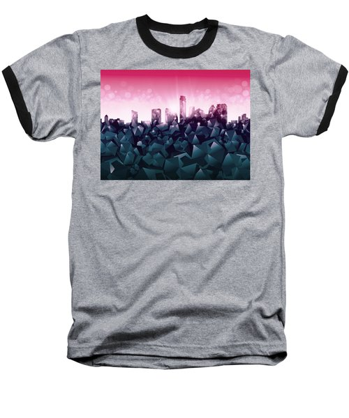 Austin Skyline Geometry 2 Baseball T-Shirt by Bekim Art