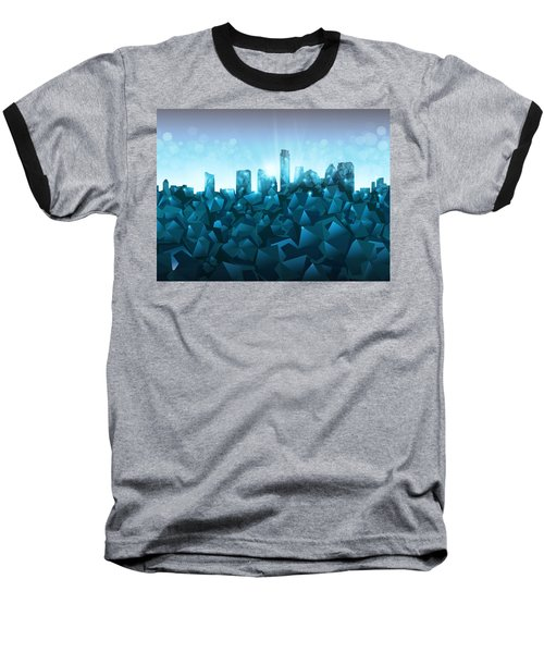 Austin Skyline Geometry 3 Baseball T-Shirt by Bekim Art
