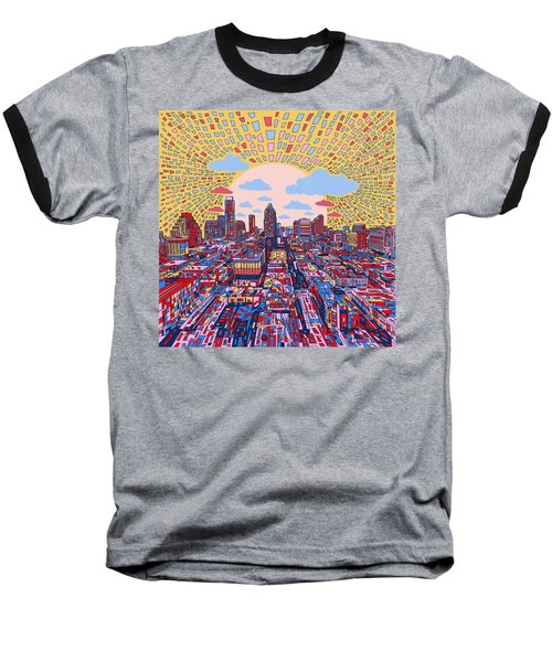 Austin Texas Abstract Panorama 2 Baseball T-Shirt by Bekim Art