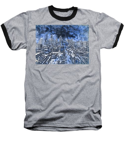 Austin Texas Abstract Panorama 5 Baseball T-Shirt by Bekim Art