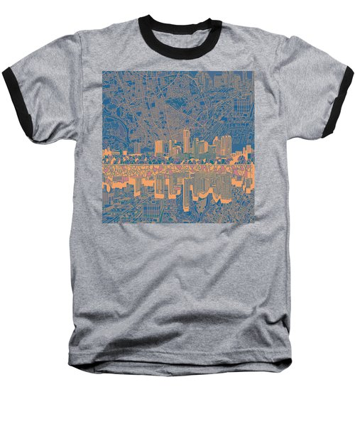 Austin Texas Skyline 2 Baseball T-Shirt by Bekim Art