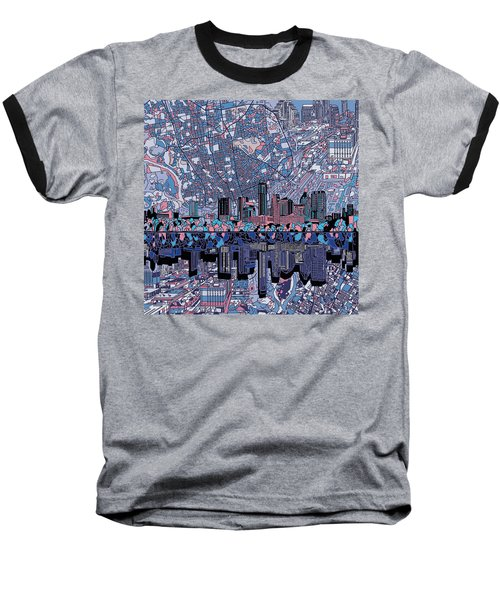 Austin Texas Skyline 3 Baseball T-Shirt by Bekim Art