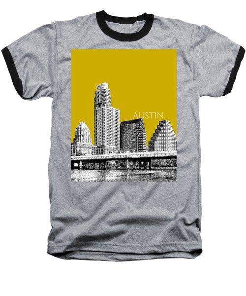 Austin Texas Skyline - Gold Baseball T-Shirt