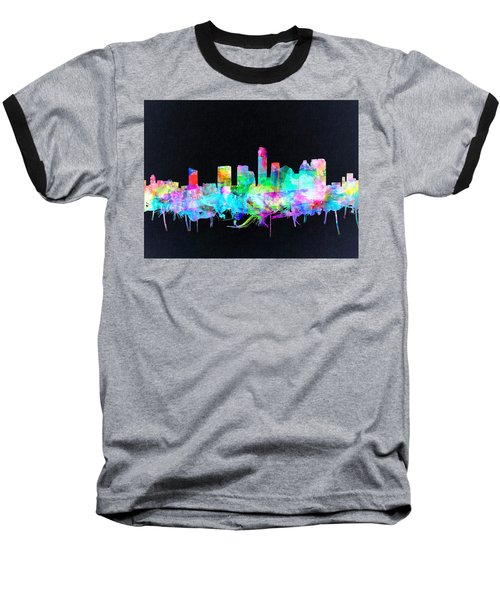 Austin Texas Skyline Watercolor 3 Baseball T-Shirt
