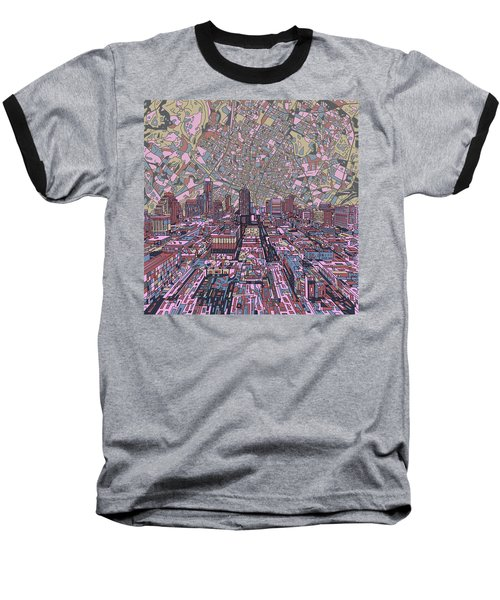 Austin Texas Vintage Panorama 2 Baseball T-Shirt by Bekim Art