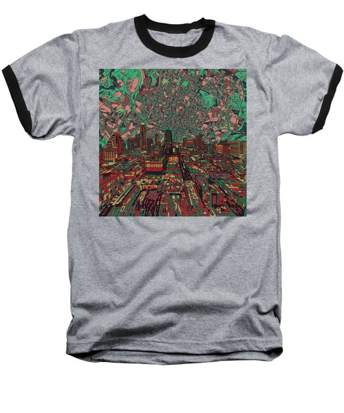 Austin Texas Vintage Panorama 3 Baseball T-Shirt by Bekim Art