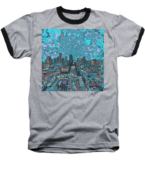 Austin Texas Vintage Panorama 4 Baseball T-Shirt by Bekim Art