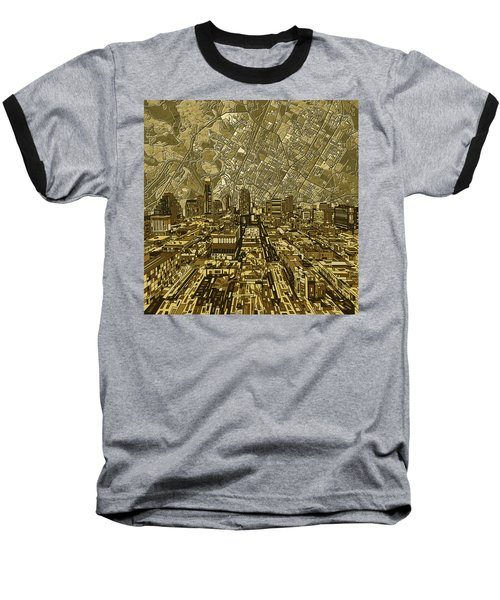 Austin Texas Vintage Panorama Baseball T-Shirt by Bekim Art