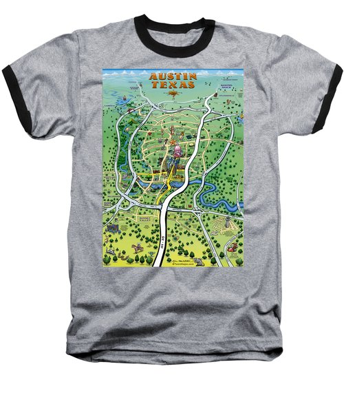 Baseball T-Shirt featuring the digital art Austin Tx Cartoon Map by Kevin Middleton