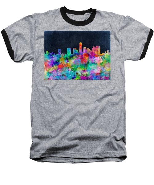 Austin Watercolor Panorama Baseball T-Shirt