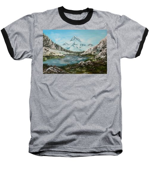 Baseball T-Shirt featuring the painting Austrian Lake by Jean Walker