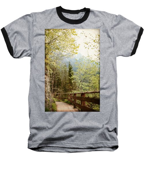 Austrian Woodland Trail And Mountain View Baseball T-Shirt by Brooke T Ryan